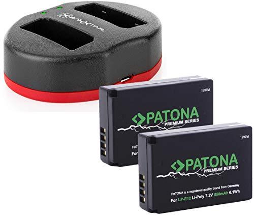 Baxxtar 1821 - Cargador Doble USB para Canon LP-E12 con 2 baterías Patona Premium para Canon EOS 100D y Canon EOS M M10 M100 PowerShot SX70 HS