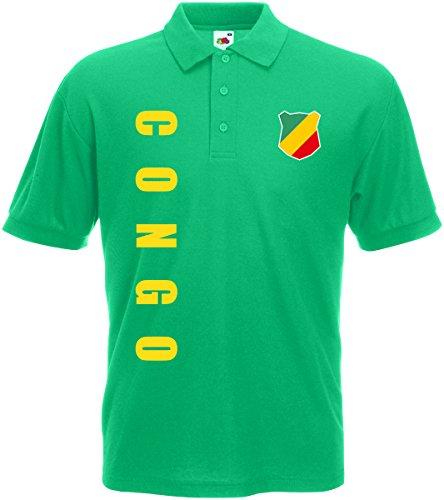 Kongo Congo Polo-Shirt Trikot Wunschname Wunschnummer (Maigrün, XXL)