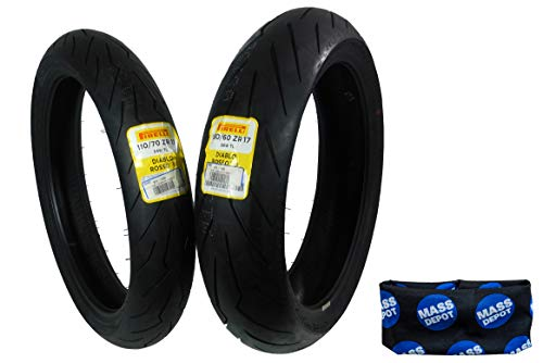 Pirelli Diablo Rosso III Front & Rear Street Sport Motorcycle Tires Rosso Three Rosso 3 (110/70ZR17 150/60ZR17)