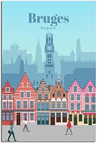 HNGFV Lienzos Decorativos Poster de Viaje Vintage Brujas Bélgica Lienzo Arte Poster Cuadros Decoracion Poster Decoracion de la Pared Pintura Cartel 40x60cm x1 Sin Marco