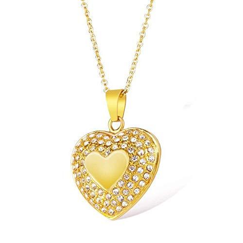 Persoonlijke accessoires, Kettingen, Dainty Hart Ketting Rose Goud RVS Bedel met Kleine Kristallen Hartvorm Hanger voor Vrouwen Moeder Sieraden, Thumby Goud