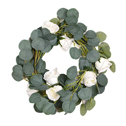 yangyang 2 Meters Eucalyptus Leaves Garland with Rose Flowers Artificial Vines Simulation Plant for Home Wedding Party Festival Decoration