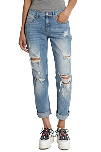 TheMogan Women's Distressed Washed Denim Mid Rise Boyfriend Jeans Medium 3