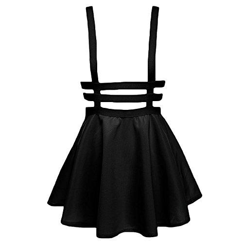 urban GoCo Falda Plisada con Cintura Elástica para Mujeres (L, Negro) (Ropa)