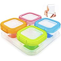 4-Pack Aamuee Baby Blocks Food Storage Containers with Lids