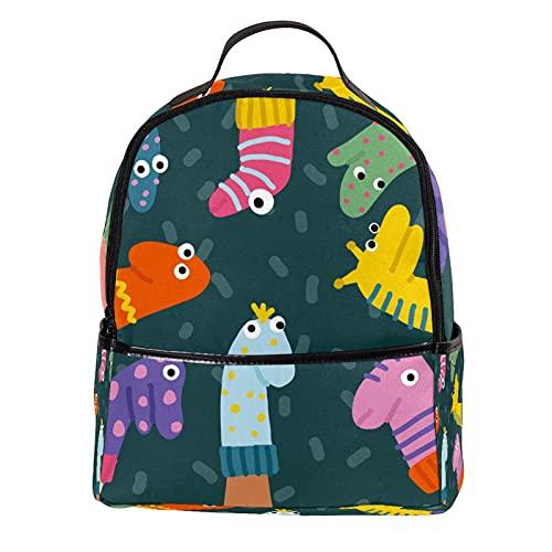 ATOMO Mini mochila casual calcetines divertidos marionetas pu cuero viaje compras bolsas Daypacks