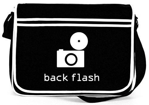 Shirtstreet24, BACK FLASH, Kamera Retro Messenger Bag Kuriertasche Umhängetasche, Größe: onesize,Schwarz