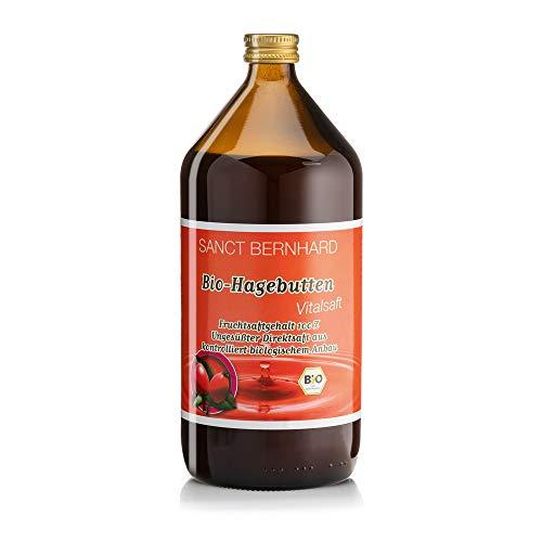 Sanct Bernhard Bio-Hagebutten-Vitalsaft, ungesüßt, Direktsaft aus kontrolliert biologischem Anbau, 1 Liter Glasflasche