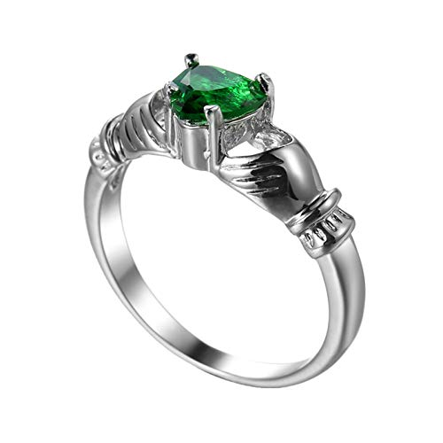 Beydodo Anillo Chapado en Oro Blanco Anillos Plata Compromiso Mujer Verde Claddagh con Corazón Circonita Verde Talla 12