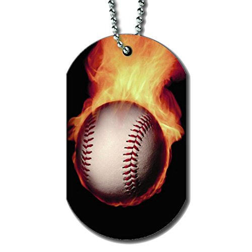Baseball with Flames - Dog Tag Necklace