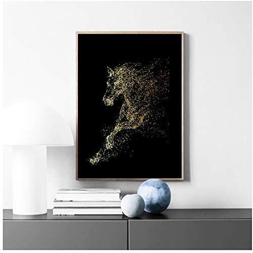 Arte abstracto de animales Golden Running Horses Pintura en lienzo Arte de la pared Imágenes para la sala de estar Arte abstracto moderno Impresiones Carteles 30x40cm (12x16in)