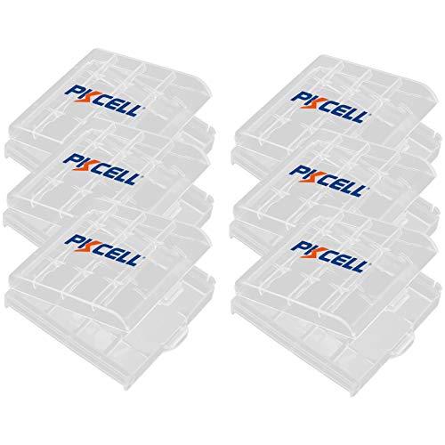 Cajas de almacenamiento de baterías de plástico de 6 piezas, Organizador de baterías transparente Caja de almacenamiento para AAA AA