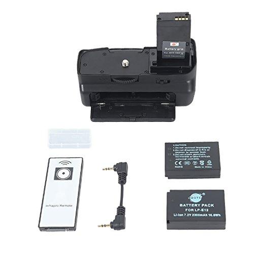 DSTE - Empuñadura de batería para Canon EOS 100D, mando a distancia y dos baterías (LP-E12, Li-Ion)