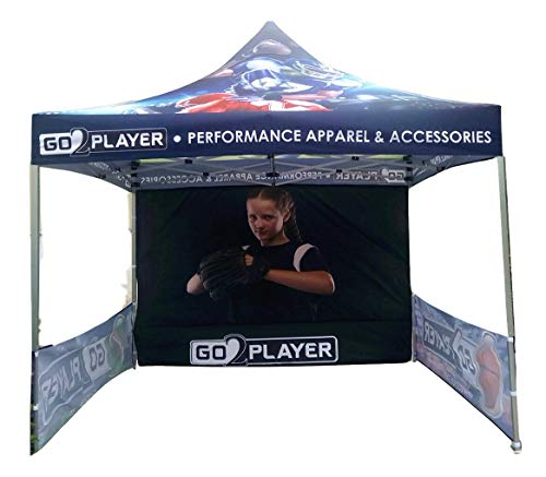 NaBai Canopy Pop Up Tent for Tradeshow 10 x 10 feet, Advertising Gazebos with Your Logo (10x10 top Canopy +one Full Wall, Two Small Side Walls + 13 kgs Aluminum Alloy Frame)