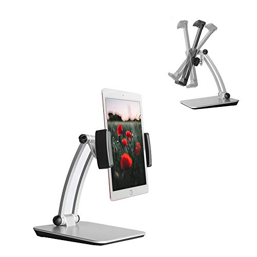 Aimayla Tablet Stand, Height Adjustable Aluminium Tablet Holder Mount,Multi-Angle Portable Foldable Phone Holder Dock Compatible with 4.7-12.9 Inch Tablets iPad Air, Samsung Tab, Kindle, Surface Go