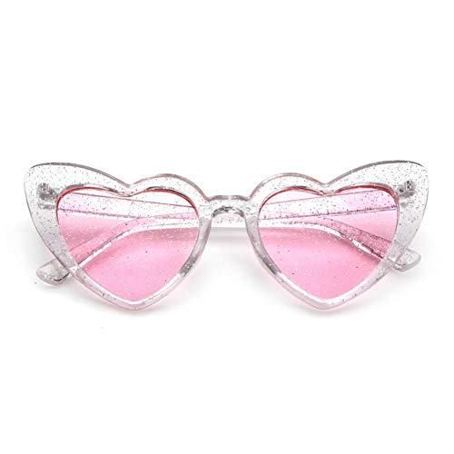 SHENY Occhiali da Sole New Womem Popular Heart Sharp Donna Cat Eye Occhiali da Sole Lovely Glitter Candy Colors Occhiali Uv400 C2