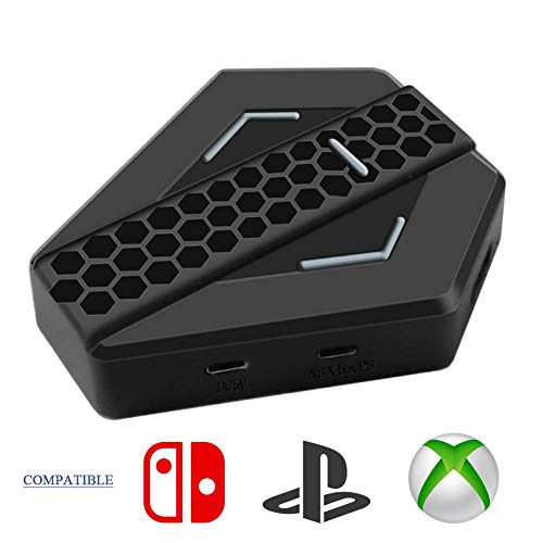 Teclado y Ratón Convertidor, Adaptador USB PS4 Keyboard Mouse para Mandos de Juego Gamepad Compatible con Consolas PS3, NS Switch, Xbox One, Xbox 360 Conexión Cable Plug&Play