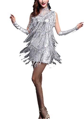 Whitewed Vintage 1920's 20's Charleston Flapper Gatsby Inspired Style Dresses, Laser Sliver, 12/14