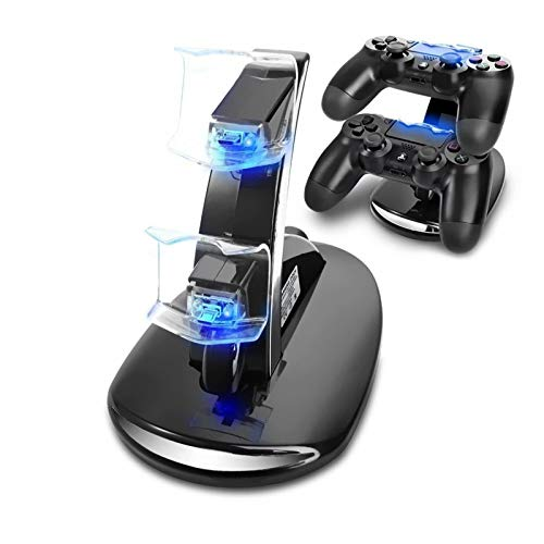 AMANKA PS4 Controller Ladestation Charger, Ladegerät Stand mit USB Kabel für Playstation 4 / PS4 Slim / PS4 Pro Game Controller, Schwarz