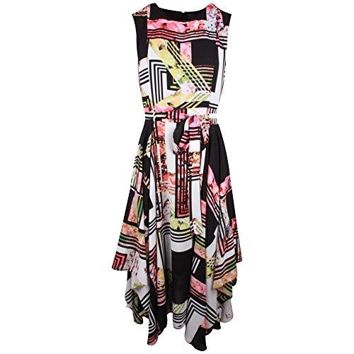 Frank Lyman Multicoloured Geometric Design Sleeveless Dress 16 UK Black Multi