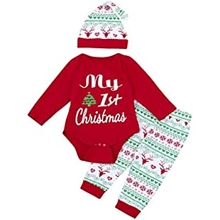 sunnymi 3Pcs My First Christmas Santa Clothes Set Toddler Newborn Infant Baby Boy Girl Deer Romper Tops+Pants+Hat Outfits (18-24 Months, Red):Hashflur