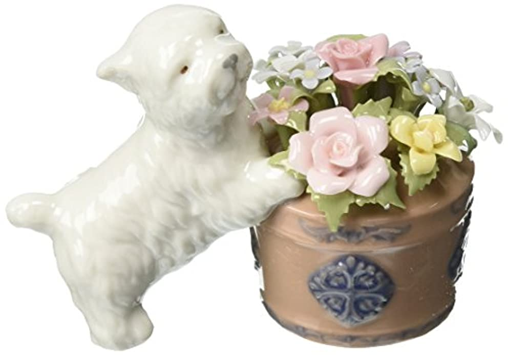 Cosmos 80017 Westie Dog and Flower Basket Musical Figurine, 4-1/8-Inch