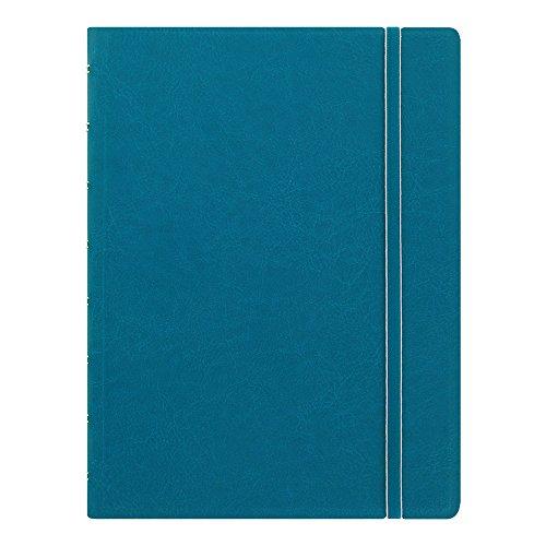 FILOFAX Nachfüllbares Notizbuch, A5 (21 x 12,7 cm), Aqua – Eleganter Einband in Lederoptik mit beweglichen Seiten – Gummibandverschluss, Index, Tasche und Lesezeichen (B115012U)
