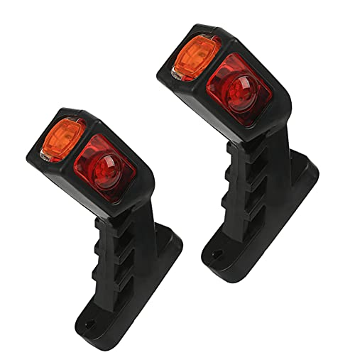 Iriisy 2PCS Luces LED Laterales para Coches, Camiones, Remolques, 12V 24V Luces Traseras de Advertencia, Indicadores, Luces Impermeables Rojo, Amarillo y Blanco
