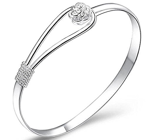 Plateado mujeres de la joyería 925 pulseras de cadena de plata esterlina de plata sólida de pulsera de moda Cuff (rose)