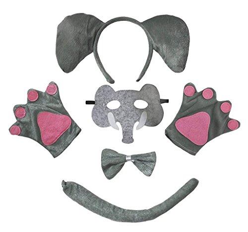 Petitebelle hoofdband bowtie staart handschoenen masker 5 stuks kostuum Eén maat olifant