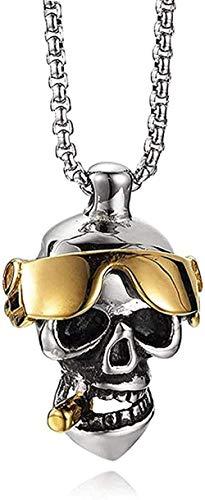 LBBYLFFF Collar para Hombre, Collar de Calavera Punk, Acero Inoxidable, Color Dorado, Gafas, Cigarrillo, Esqueleto Inclinado, Colgante, Collares, joyería para Hombre