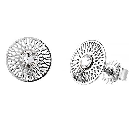 Pendientes de plata 925 para mujer, pendientes de plata 925, con tres circonitas, pendientes de alta calidad, para mujer y niña, hechos a mano, Plata,