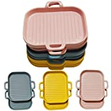 Bacon Tray Microwave Oven Bacon Cooker Tray, Ceramic Baking Pan for Microwave Bacon Cooking Healthy Breakfast -Make Crispy Bacon in Minutes Grill Ceramic Dish for Cooking Meat 5x7x1.4 Set of 2Pink
