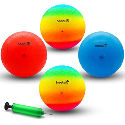 Playground Balls, 8.5 Inch Dodgeball Kickball for Kids Adults Outdoor Four Square Handball Game with Hand Pump (4 Pack)