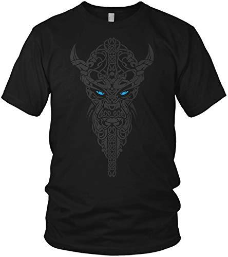 North - Nordmann Wikinger Runen Raben Raven Valhalla Rising Walhalla Vikings Odin Thor - Herren T-Shirt Männer Tshirt, Größe:3XL, Farbe:Schwarz/Blau