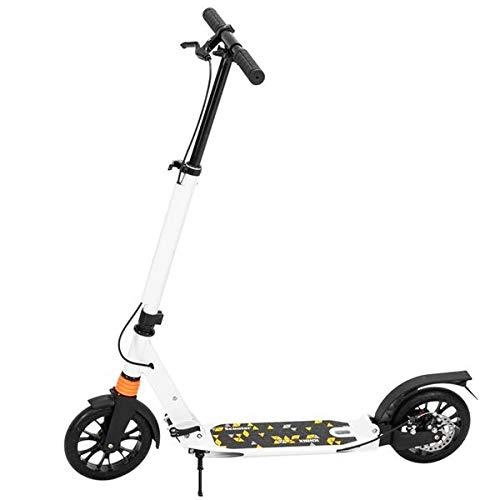 Scooter para adultos y adolescentes, 3 alturas, ajustable, fácil plegable, doble amortiguador, color blanco