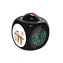 Projection Alarm Clock LCD Digital LED Display Talking with Voice Thermometer Function Desktop Cute Sloth Illustration