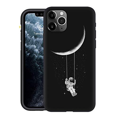 Yoedge Cover Apple iPhone 12 PRO / 12 6,1',Sottile Antiurto Custodia Nero Silicone TPU con Disegni Astronauta Pattern Ultra Slim Drop Protection Bumper Back Phone Case per Apple iPhone 12 PRO 6,1',28