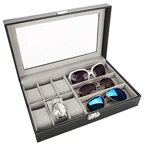 Caja expositora para relojes, 6 ranuras, caja organizadora para 3 gafas de sol, caja de colección de relojes de viaje, 33 x 20 x 8 cm
