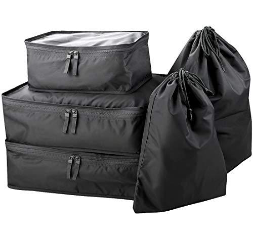 5 Stück Koffer Gepäck Kleidungsstück Aufbewahrungstasche, Reise Koffer Organizer Set, Reise Packing Cubes Set, Schwarz