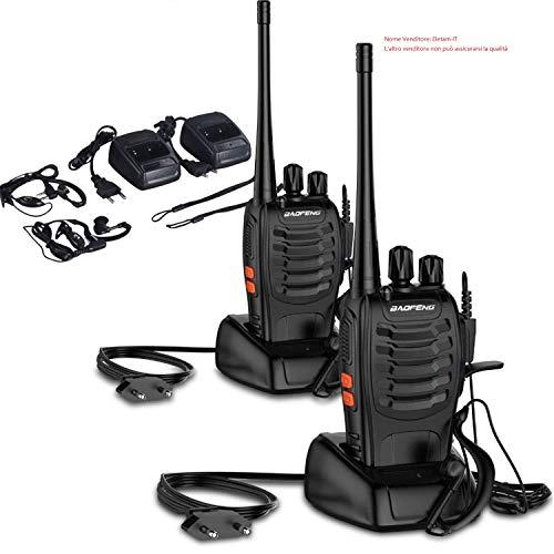 OCDAY Walkie Talkie Ricetrasmittente, Walkie Talkie BAOFENG BF-888S 16 Canali Walkie Talkie FM VHF/UHF 400-470MHz 5W con Ricevitore Radio Bidirezionale Handheld Portatile Dual con Auricolare (2pcs)