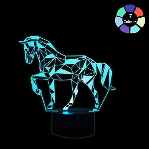 Coolzon 3D Optical Illusion Lampen LED Nachtlicht für Kinder Baby, Pferd Lampe 7 Farben ändern 3d Lampe Mit USB-Kabel