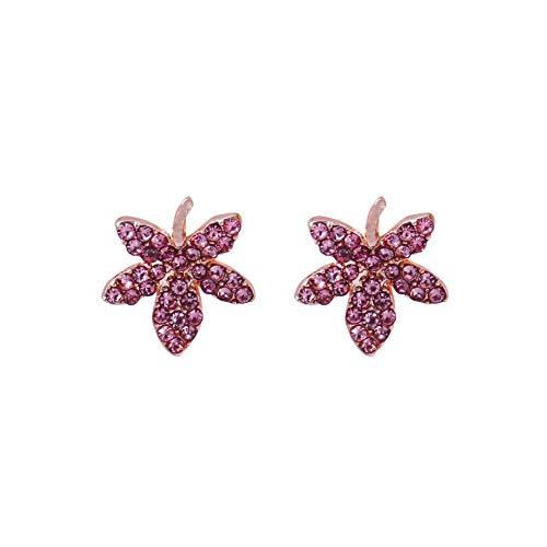 925 ago d'argento viola acero foglia incrostato diamante piccola moda tendenza rete rosso ins vento unghie orecchini ornamenti donne