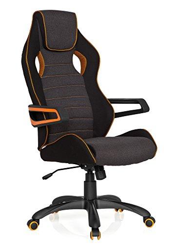 hjh OFFICE RAYCER PRO III - Silla gaming o de oficina, tejido negro, gris y naranja, tela, reposacabezas