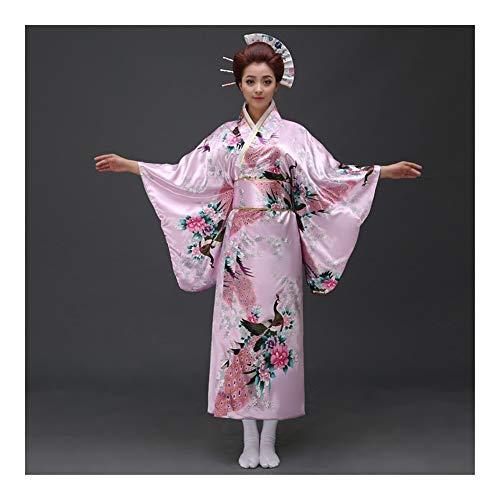 Japanese Style Japanese Women Original Yukata Dress Traditional Kimono with OBI Performance Dance Costumes One Size (Color : Pink Peacock, Size : One Size)