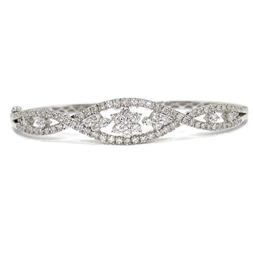 Never Say Never Pulsera rígida de Oro Blanco de 18k y 1.97cts de Diamantes de 1.10cm de Ancha en la Parte de Arriba y 58.00mm de Interior. 13.00gr de Oro de 18k.