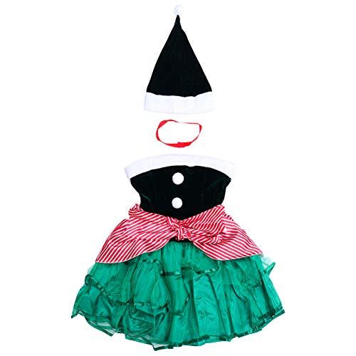SOIMISS 1 Juego Disfraz de Elfo Navideo para Mujer Vestido Y Sombrero de Elfo Navideo Vestido Festivo de Navidad Sombrero Trajes M