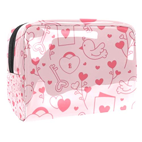 Portable Makeup Bag with Zipper Travel Toiletry Bag for Women Handy Storage Cosmetic Pouch Heart Lock Key