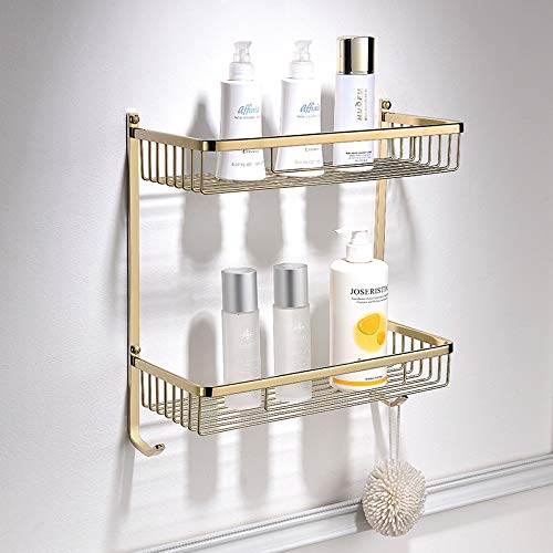 Find Discount cfxdxayd Bathroom Shelf Copper Shower Rack Wall Mounted Corner Shelf Square Bath Showe...