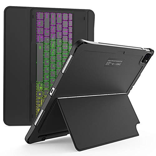 Inateck iPad Keyboard Case for iPad Pro 12.9 Inch 2020 (4th Gen) - iPad Pro 2018 12.9 (3rd Gen) with Hundreds of Backlits - RGB Tablet Keyboard - Stable Flexible Kickstand - KB02006 Black